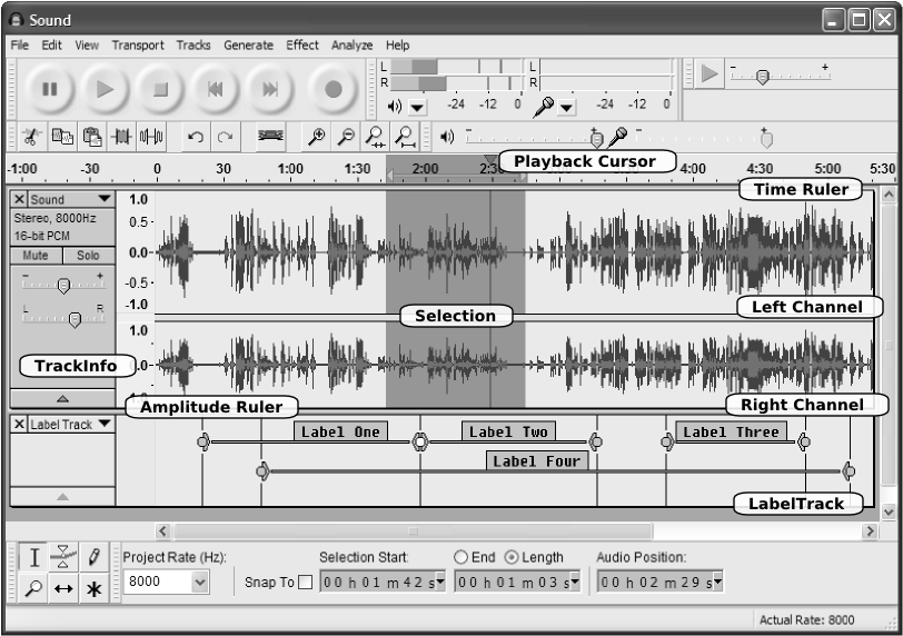 [Audacity Interface with Track Panel Elements Labelled]